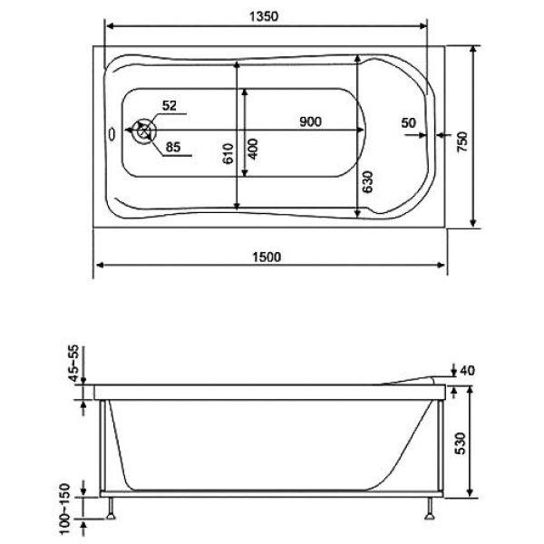 Гидромассажная ванна BAS Бриз 150x75 (сифон автомат)