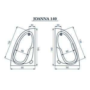 Акриловая ванна Cersanit Joanna New 140x90 (сифон автомат)