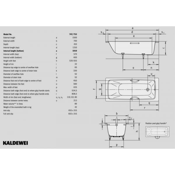 Стальная ванна Kaldewei Cayono 747 150x70 (сифон автомат)