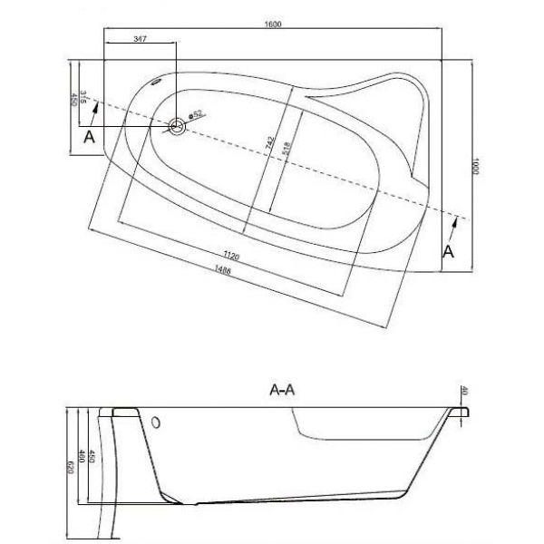 Акриловая ванна Cersanit Sicilia New 160х100 (сифон автомат)