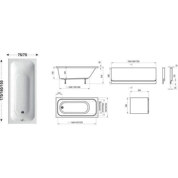 Акриловая ванна Ravak Chrome 170x75 (сифон автомат)