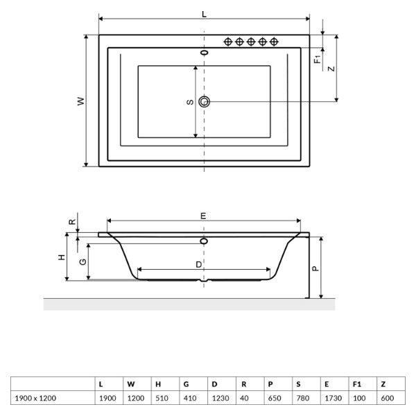 Акриловая ванна Excellent Crown Lux 190x120 (сифон автомат)