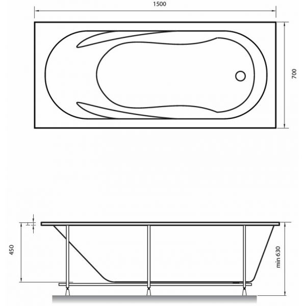Акриловая ванна Relisan Daria 150x70 (сифон автомат)