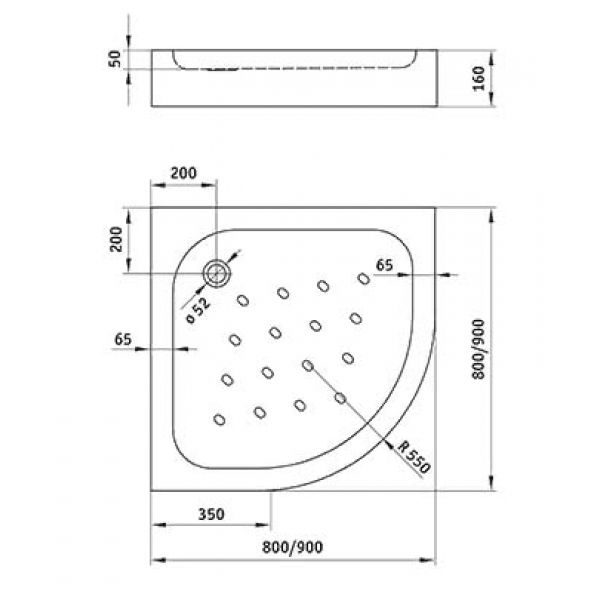 Душевой поддон Deante Standard New KTA 054B 80х80