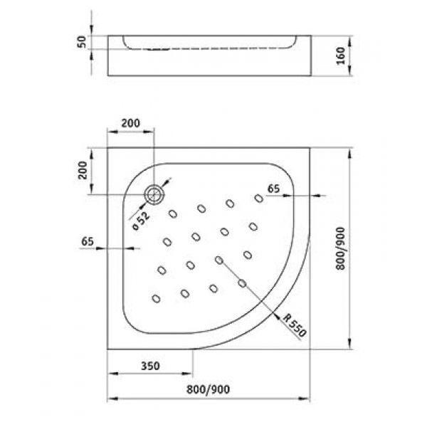 Душевой поддон Deante Standard New KTA 053B 90х90