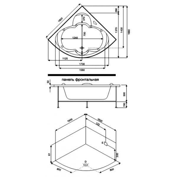 Гидромассажная ванна BAS Дрова 160x160 (сифон автомат)
