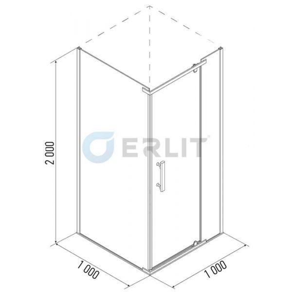 Душевой уголок Erlit ER10110H 100x100
