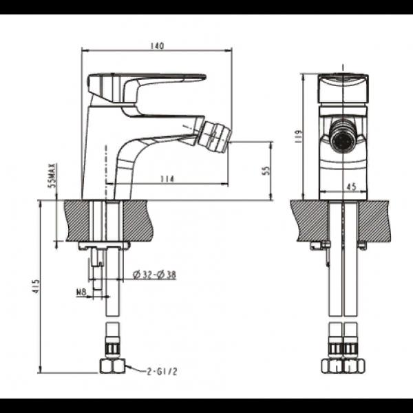 Смеситель для биде Bravat Eler F3239218CP-1-RUS