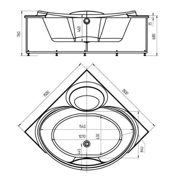 Акриловая ванна Aquatek Эпсилон 150х150 (сифон)