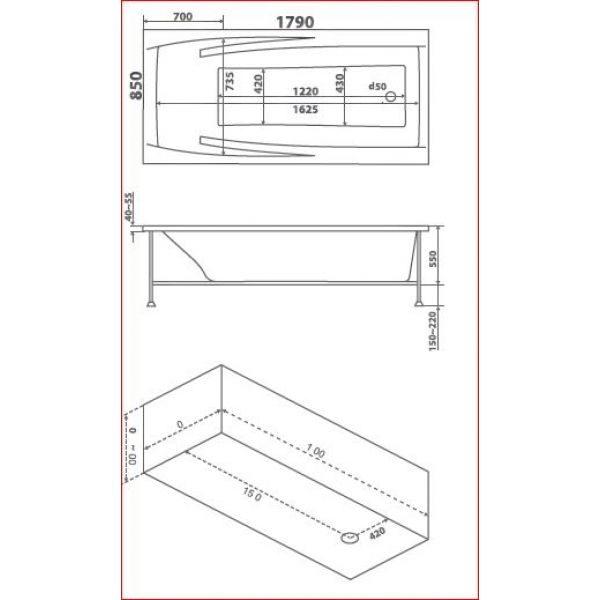 Акриловая ванна BAS Эвита 180х85 (сифон автомат)