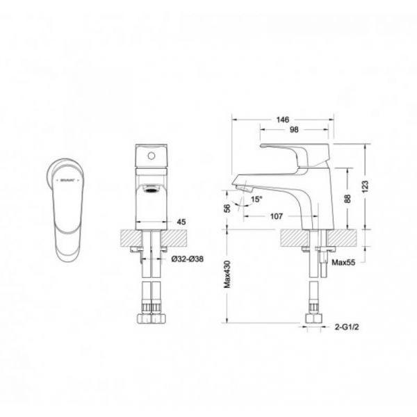 Смеситель для умывальника Bravat ALFA F1120178CP