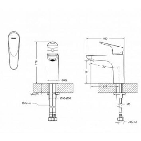 Смеситель для умывальника Bravat DROP F14898C