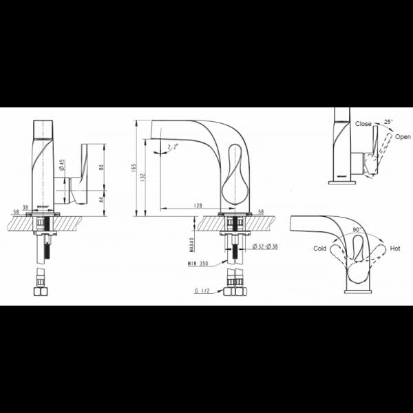 Смеситель для умывальника Bravat Wave F174108C-2