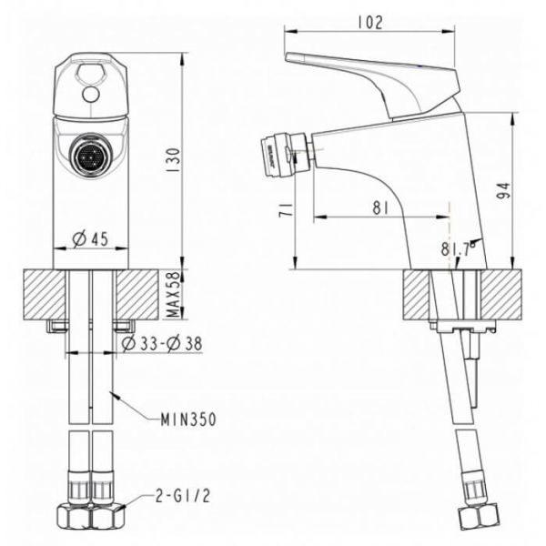 Смеситель для биде Bravat Drop-D F348162C