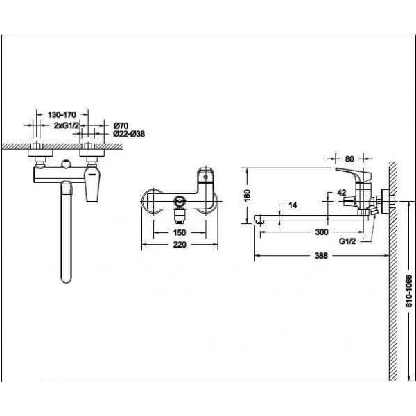 Смеситель для ванны с длинным изливом Bravat VEGA F6119177CP-01L