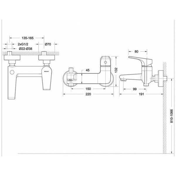 Смеситель для ванны с коротким изливом Bravat VEGA F6119177CP-01