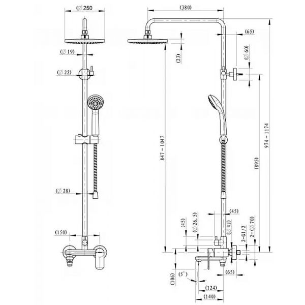 Душевая стойка Bravat Opal C F6125183CP-A3-RUS