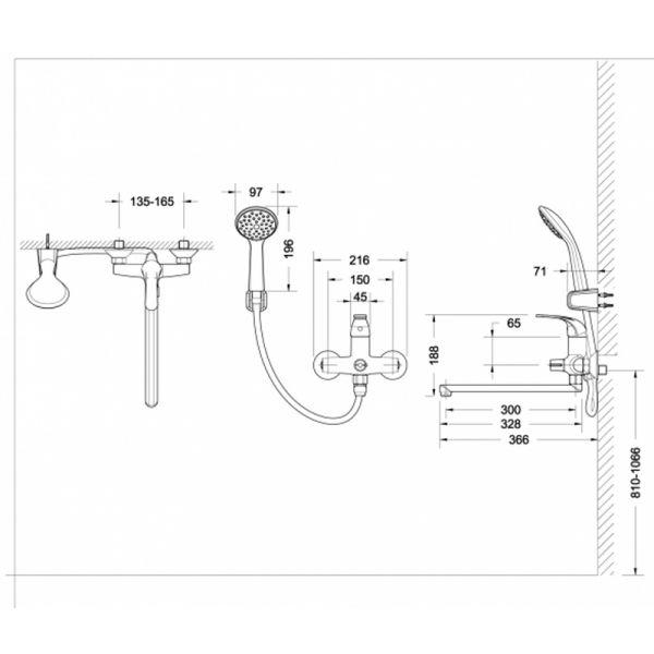Смеситель для ванны Bravat Fit F6135188CP-LB-RUS с душевым комплектом
