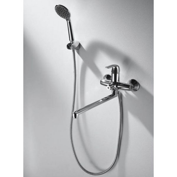 Смеситель для ванны с длинным изливом Bravat SIMPLE F6135193CP-LB-RUS