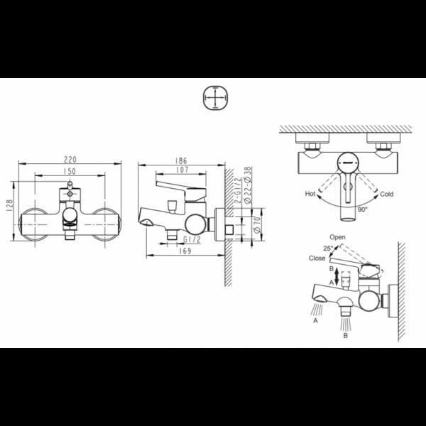 Смеситель для ванны Bravat Palace F6172217CP-01-RUS