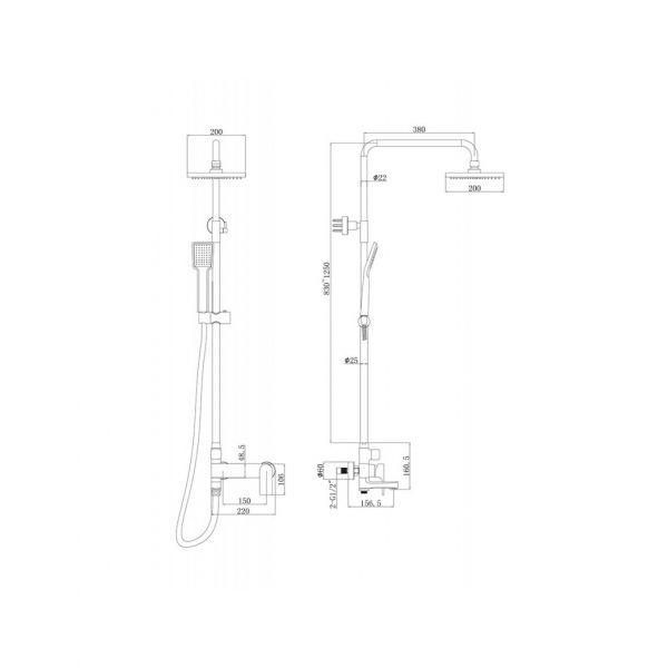 Душевая стойка Bravat Real F6333367CP-A-RUS