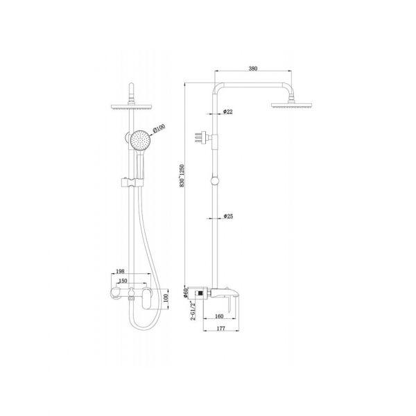 Душевая стойка Bravat Pure F6335369CP-A-RUS