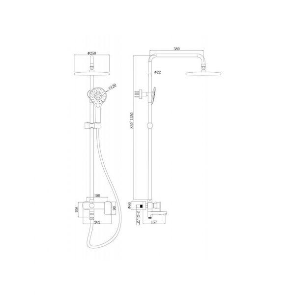 Душевая стойка Bravat Riffle F6336370CP-A-RUS