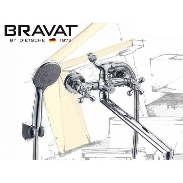 Смеситель для ванны с длинным изливом Bravat Annette F6339373CP-LB-RUS