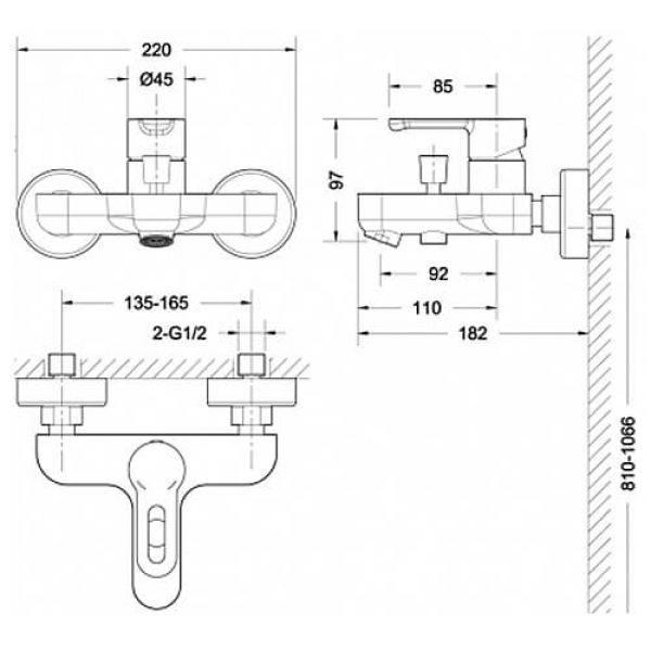 Смеситель для ванны с коротким изливом Bravat Stream-D F637163C-01