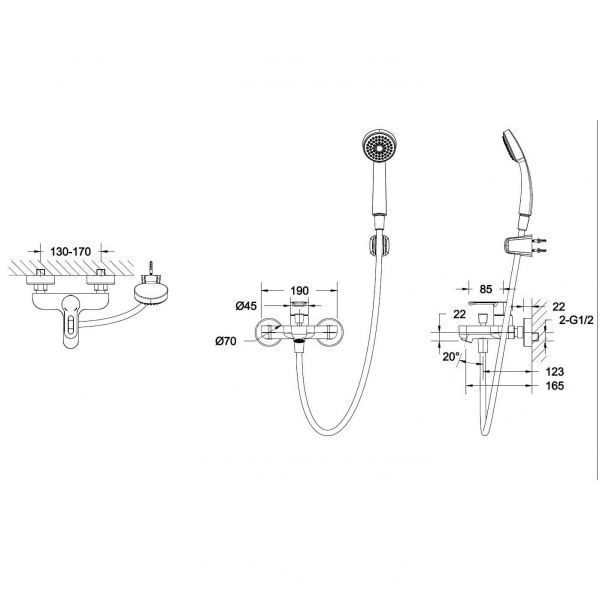 Смеситель для ванны с коротким изливом Bravat Stream-D F637163C-B