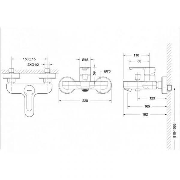 Смеситель для ванны с коротким изливом Bravat Stream F63783C-01А