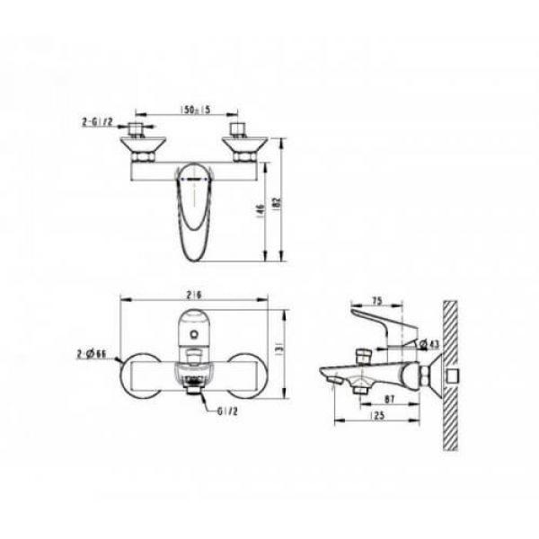 Смеситель для ванны с коротким изливом Bravat Drop F64898C-01А
