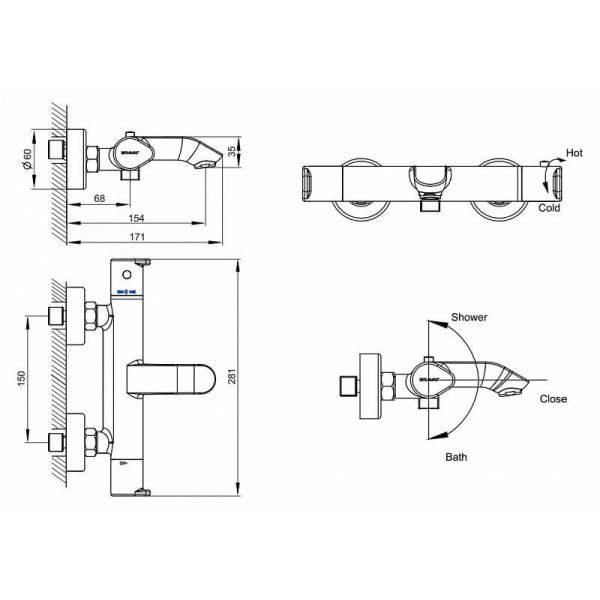 Смеситель для ванны с коротким изливом Bravat Waterfall F673114C-01