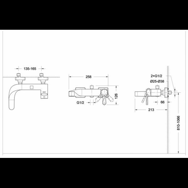 Смеситель для ванны Bravat Wave F674108C-01