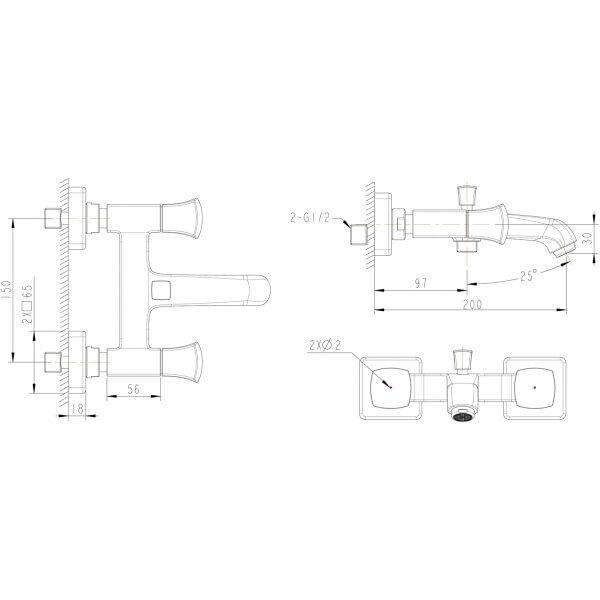 Смеситель для ванны с коротким изливом Bravat Whirlpool F678112C-01