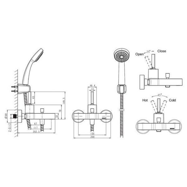 Смеситель для ванны с коротким изливом Bravat SPRING F679113C-B
