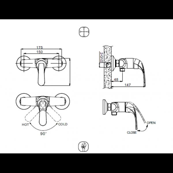 Смеситель для душа Bravat FIT F9135188CP-01-RUS