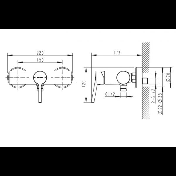 Смеситель для душа Bravat Palace F9172217CP-01-RUS