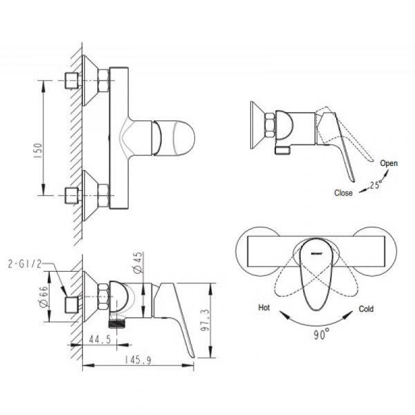 Смеситель для душа Bravat Drop-D F948162C-01