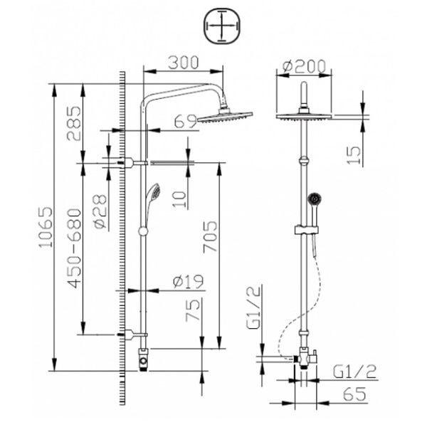 Душевая стойка Bravat Fit R D283CP-2-RUS