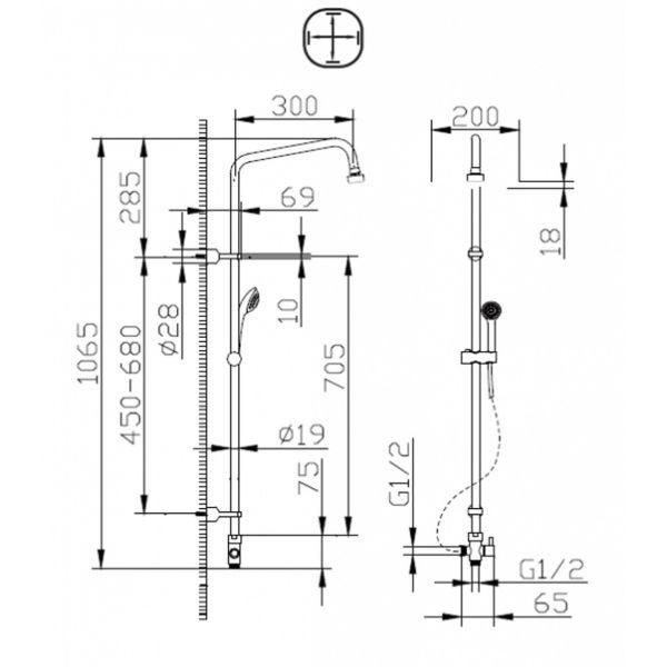 Душевая стойка Bravat Fit S D283CP-2A-RUS