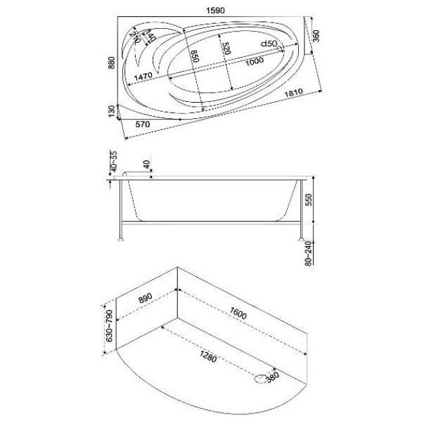 Акриловая ванна BAS Флорида 160х88 (сифон автомат)