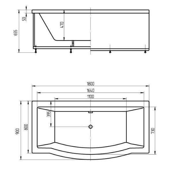 Акриловая ванна Aquatek Гелиос 180x90 (сифон)