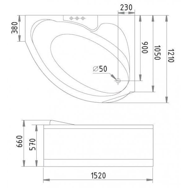 Гидромассажная ванна Gemy G9003 B (сифон автомат)