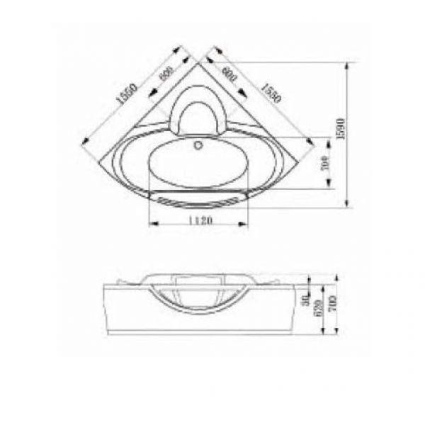 Акриловая ванна Gemy G9025-II C (сифон автомат)