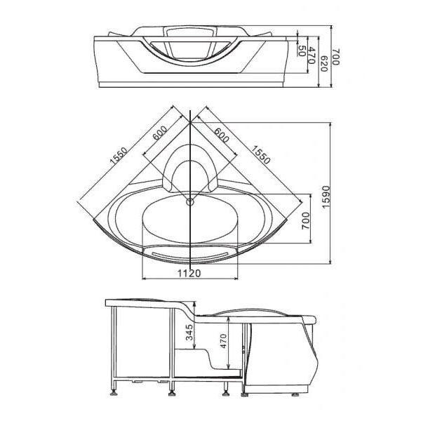 Гидромассажная ванна Gemy G9025-II K (сифон автомат)