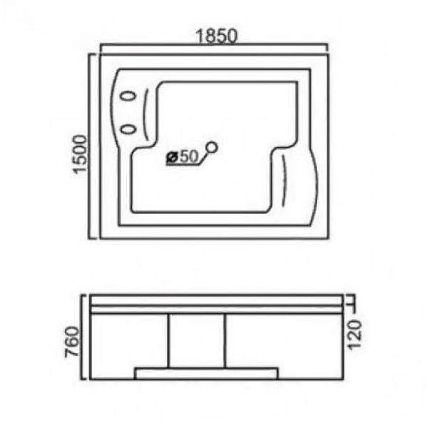 Гидромассажная ванна Gemy G9052-II O (сифон автомат)