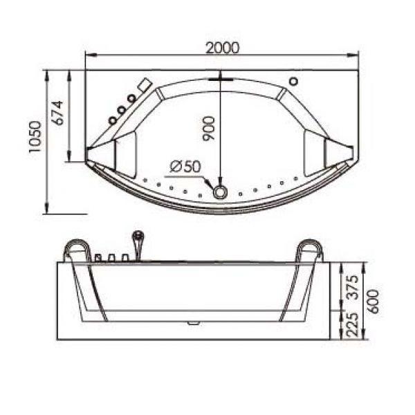 Акриловая ванна Gemy G9079 O (сифон автомат)