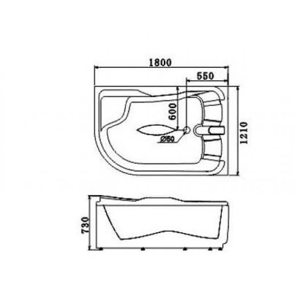 Гидромассажная ванна Gemy G9083 B (сифон автомат)