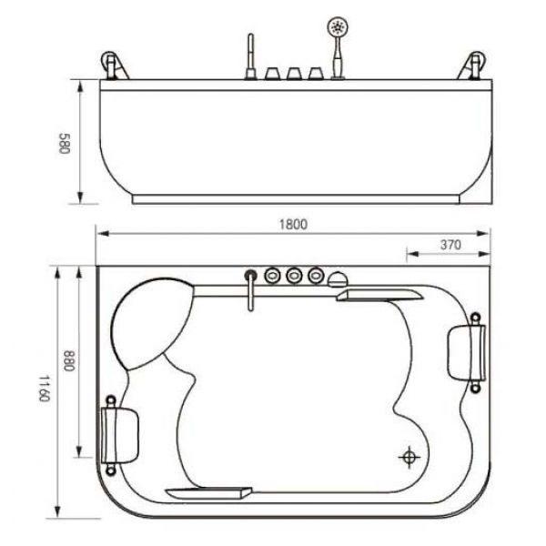 Гидромассажная ванна Gemy G9085 O (сифон автомат)
